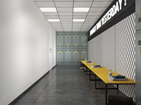 Bison Container Homes gym & daycare locker room